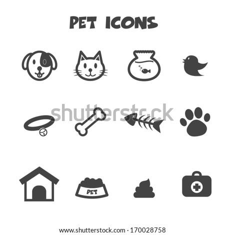 pet icons, mono vector symbols - stock vector