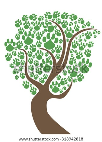 pet paws tree - stock vector
