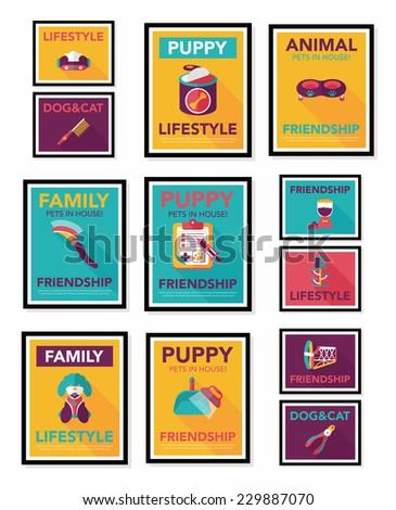 Pet Poster Flat Banner Design Background Set, Eps10  Pet Poster