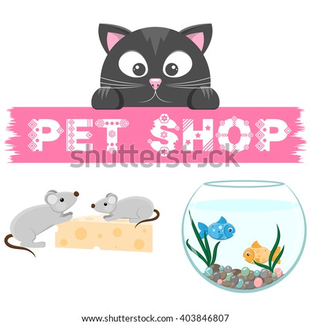 Pet shop emblem. Banner with name of animal store