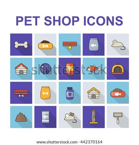 pet shop icons set - stock vector