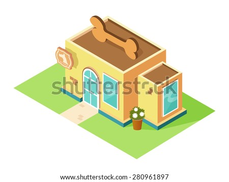 Pet shop logo on the building. Pet store isometric vector  flat icon