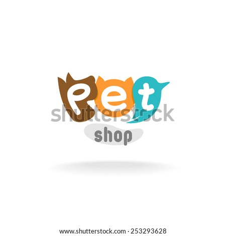 Pet shop logo template. Heads of brown dog, red cat and green blue parrot. Pet shop or store signboard. - stock vector