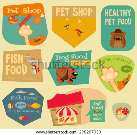 Pet Shop Stickers Set in Retro Style. Flat Design Style. Layered file. Vector Illustration. - stock vector