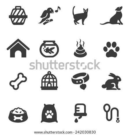 Pet Silhouette Icons - stock vector