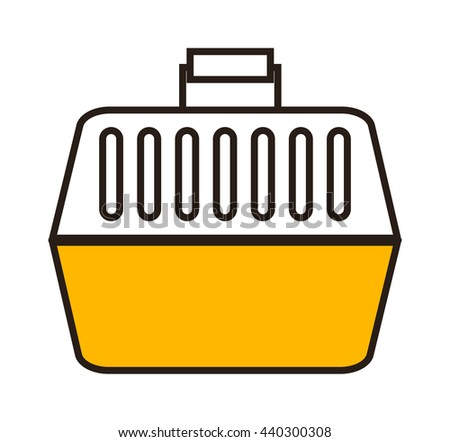 Pet travel plastic carrier isolated on white. Cat carrying kitten travel safety container. Vector small plastic security transport crate trip pet carrying. Looking transportation puppy domestic care. - stock vector