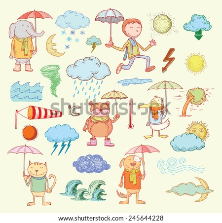 pet weather elements, vector illustration. - stock vector
