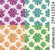petals of flowers set of 4 colored vector seamless geometric patterns on the background - stock vector