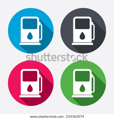 Petrol or Gas station sign icon. Car fuel symbol. Circle buttons with long shadow. 4 icons set. Vector - stock vector