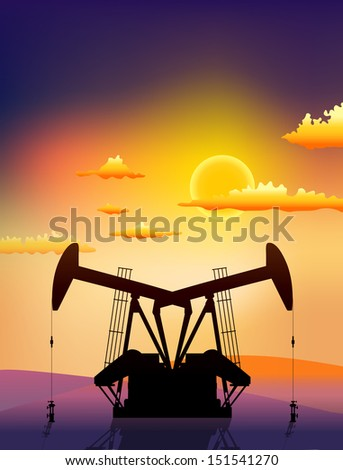 petrol pumps on sunset landscape - stock vector