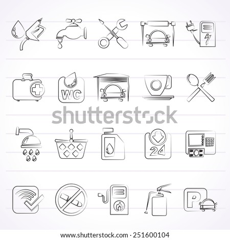 petrol station icons - vector icon set  - stock vector