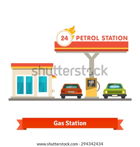 Petrol station with two cars. Flat vector illustration isolated on white background. - stock vector