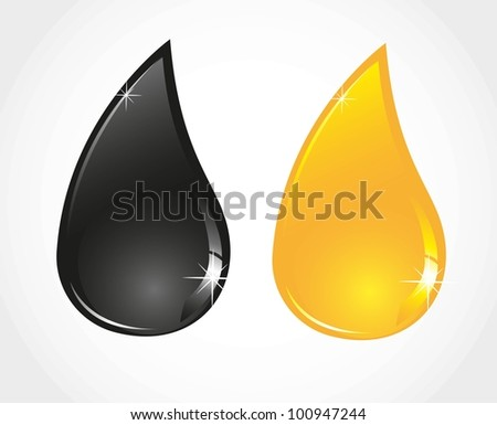 petroleum and oil droplets isolated sober white background - stock vector