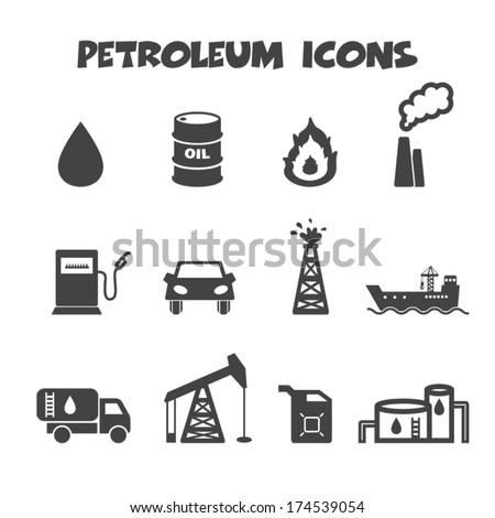 petroleum icons, mono vector symbols - stock vector