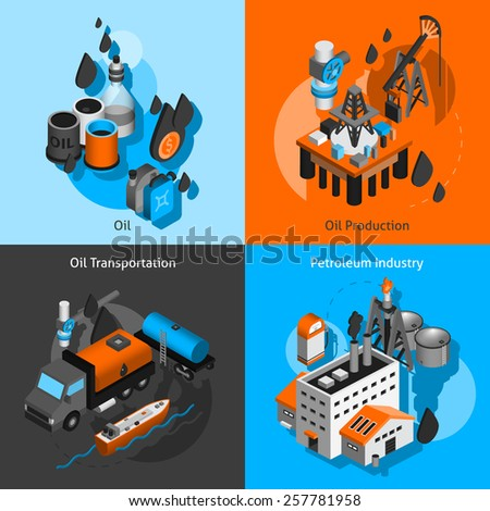Petroleum industry design concept set with oil production transportation isometric icons isolated vector illustration - stock vector