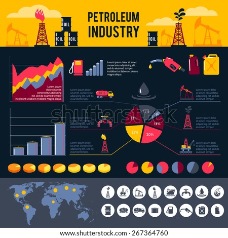 Petroleum industry infographics set with gasoline processing symbols and charts vector illustration - stock vector