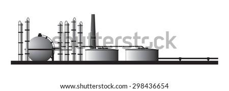 Petroleum refinery - stock vector