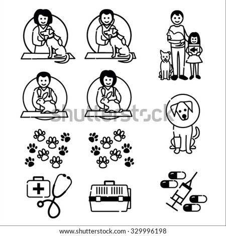 Pets animals, vet images in black outline - stock vector