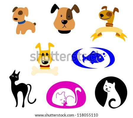 Pets icons and symbols logo set. Vector illustration - stock vector