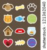 pets icons over brown background. vector illustration - stock vector