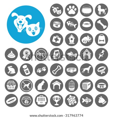 Pets icons set. Illustration EPS10 - stock vector