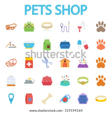 Pets shop icons set. Flat vector related icon set for web and mobile applications. It can be used as - logo, pictogram, icon, infographic element. Vector Illustration.i - stock vector