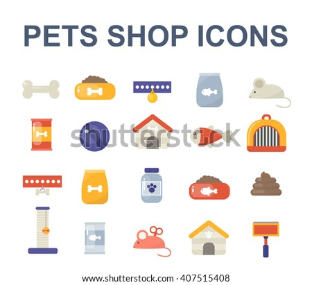 pets shop icons. vector illustration - stock vector