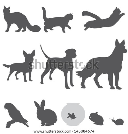 pets silhouettes set - stock vector