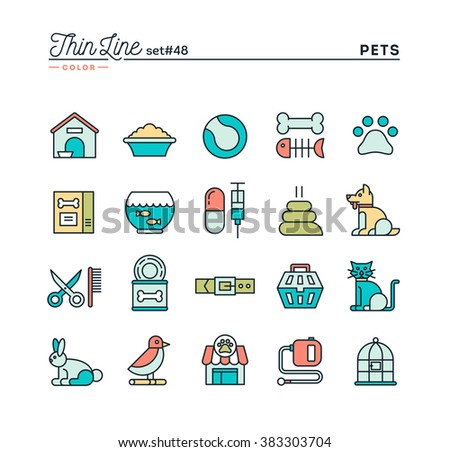 Pets, thin line color icons set, vector illustration - stock vector