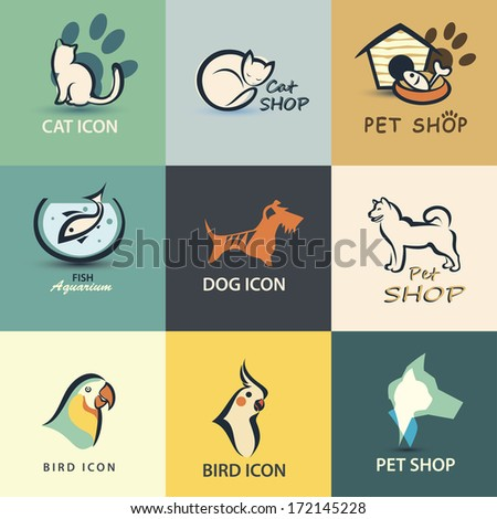 pets vector icons collection - stock vector