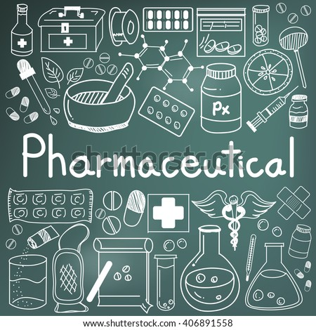 pharmaceutical and pharmacist doodle handwriting icons of medicines tools sign and symbol in blackboard background for health presentation or subject title. vector  - stock vector