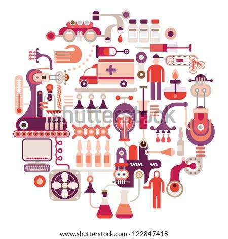Pharmaceutical laboratory - round vector illustration on white background. - stock vector