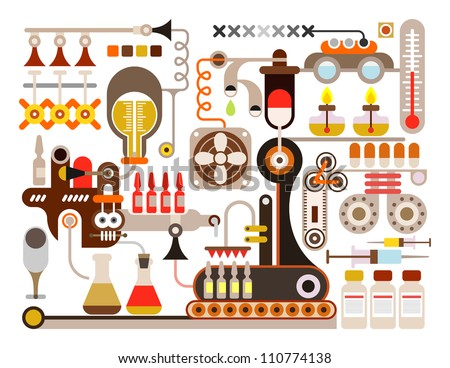 Pharmaceutical laboratory - vector illustration on white background. Medical factory. - stock vector