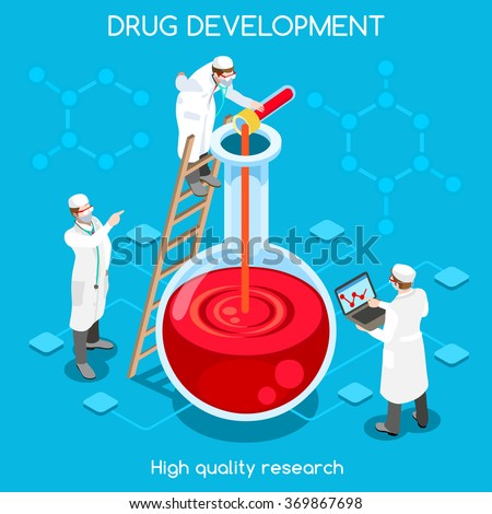 Pharmaceuticals Industry Bio Science Molecule Development new drug. Flat 3d chemical concept infographic. Pharmaceutical Research Lab workers melting substances. Isometric people vector image. - stock vector