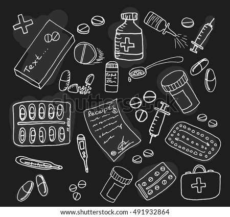 Pharmaceuticals set on black background. Free hand drawn. Vector illustration.