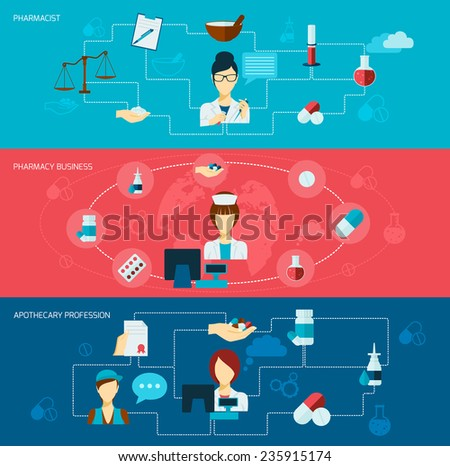 Pharmacist flat banner set with pharmacy business apothecary profession isolated vector illustration - stock vector