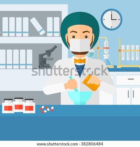 Pharmacist preparing medicine. - stock vector
