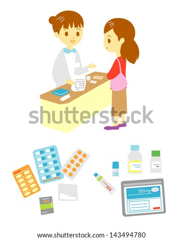 pharmacist's office and patient, medical supplies - stock vector