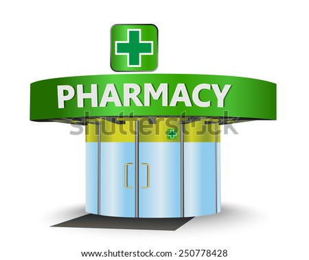 Pharmacy building as a concept symbol - stock vector