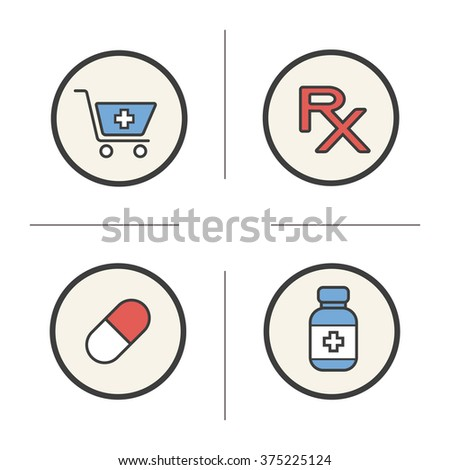 Pharmacy color icons set. Drugstore cart with cross and medicine pill. Medical prescription and tablets bottle. Treatment pharmaceutical items. Logo concepts. Vector isolated illustrations - stock vector