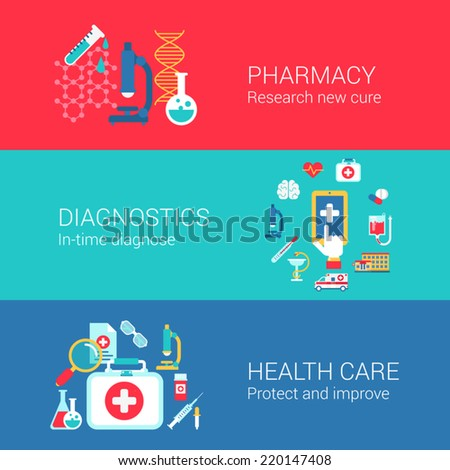 Pharmacy diagnostics healthcare concept flat icons set of research cure treatment diagnose carry and vector web banners illustration print materials website click infographics elements collection - stock vector