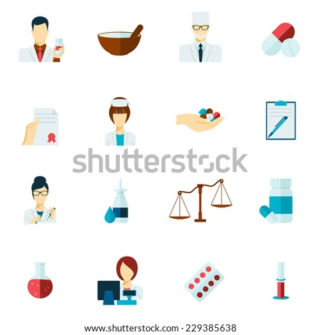 Pharmacy flat icons set with pharmacist avatars and pill symbols isolated vector illustration - stock vector