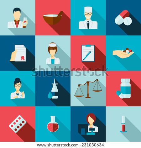 Pharmacy flat long shadow icons set with doctors avatars receipts and laboratory flasks isolated vector illustration - stock vector
