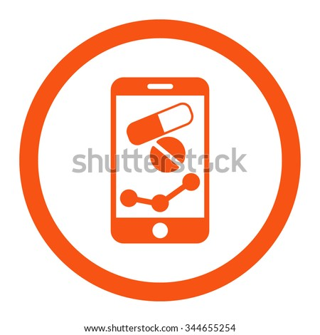 Pharmacy Online Report vector icon. Style is flat rounded symbol, orange color, rounded angles, white background. - stock vector