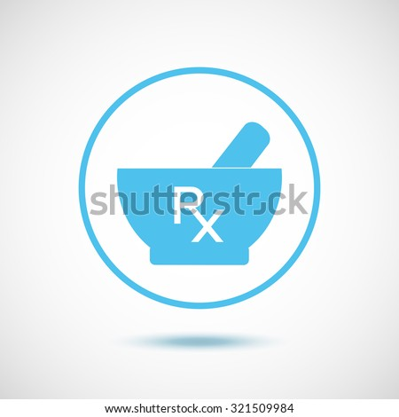Pharmacy symbols. Mortar and pestle. Rx and mortar and pestle in blue color. Rx as a prescription sign. Vector icon. - stock vector
