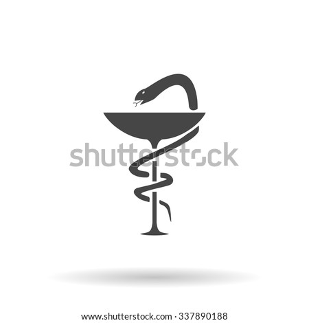 Pharmacy with caduceus, bowl with a snake. Icon Vector - stock vector