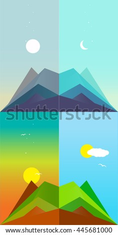PHASES OF THE DAY , FLAT VECTOR  DESIGN   - stock vector