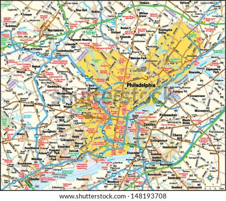 Philadelphia, Pennsylvania area map - stock vector