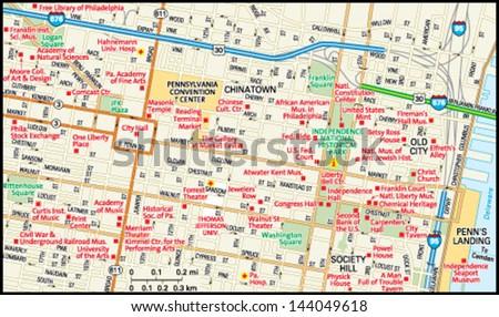 Philadelphia, Pennsylvania downtown map - stock vector