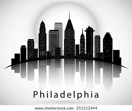Philadelphia silhouette, Pennsylvania United States of America States. City Skyline - stock vector
